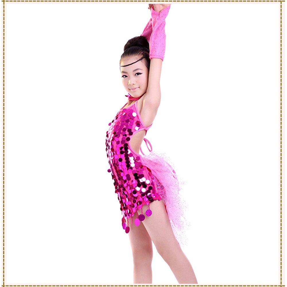 XFentech Niñas Lentejuelas Sin Mangas Latino Vestido Vestir Niños Salón De Baile Traje de Baile