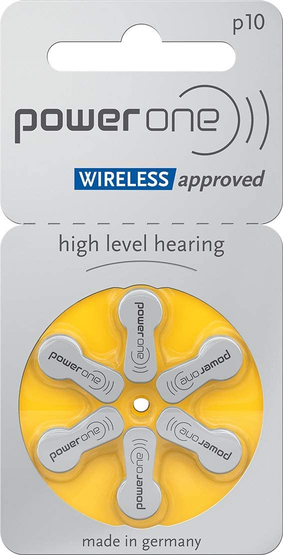 Original Powerone Battery 10, (60ea/pkg) p10 Zinc Air Hearing Aid Batteries (Yellow) Size 10