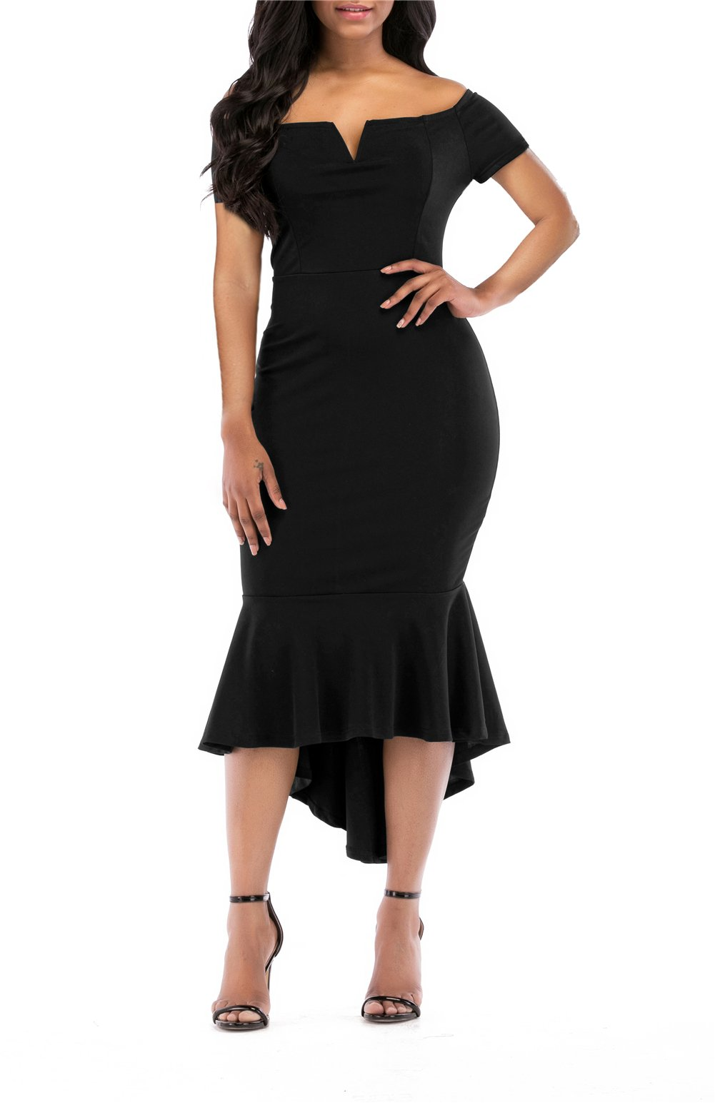 onlypuff Fishtail Dresses for Women Midi Bodycon Dress Long Sleeve V Neck Cocktail Dress (Large, S-Black) by onlypuff
