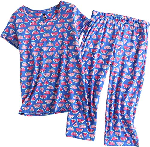 Cotton Jersey Ladies Short - Amoy madrola Women's Pajama Sets Capri Pants with Short Tops Cotton Sleepwear Ladies Sleep Sets SY215-Watermelon-XL