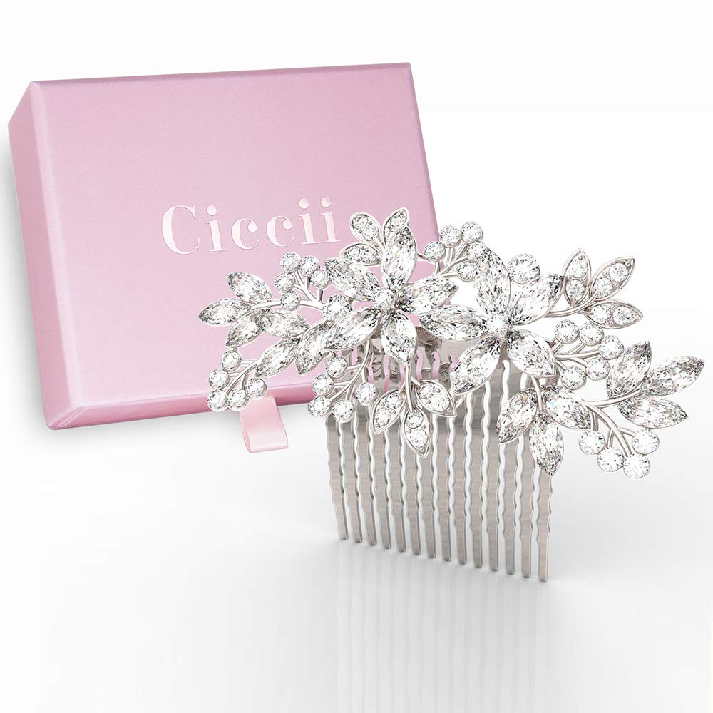 Wedding Hair Comb for Brides, Bridesmaids - Silver Crystal Bridal Hair Accessories for Women by Ciccii