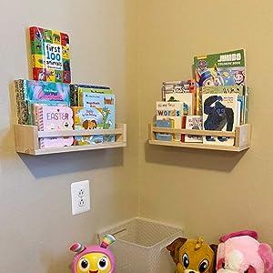 GNERIC Nursery Bookshelf- Set of 2- Baby Floating Bookshelf or Book Shelf Organizer for Kids Nursery Decor,Wall Shelves for Kitchen Spice Rack,Pine Natural Wood