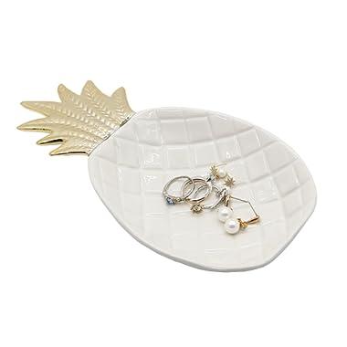 WANYA Ceramic Dish Tray Holder Decor Organizer for Jewelry Ring Trinket Keys Fruit Dessert Soap Plate Pineapple Shape
