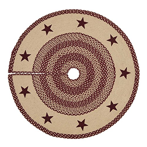 VHC Brands Classic Country Primitive Decor - Burgundy Tan Jute Red Stencil Star Tree Skirt