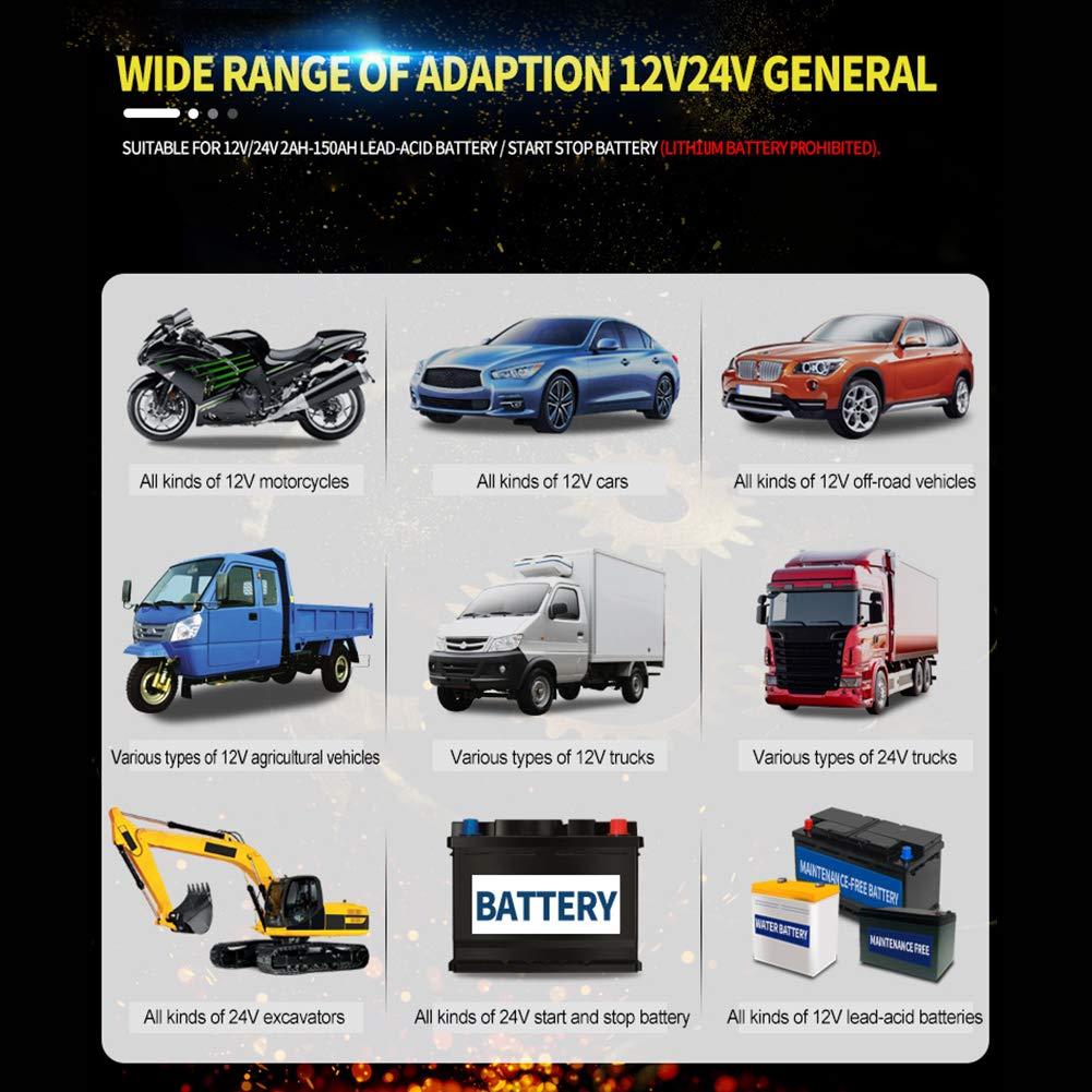 24 ZSLGOGO 12V 24V Cargador baterias Impermeable para Coche Moto Arrancador de baterias de Coche Barco 12V//8A Mantenimiento Autom/ático e Inteligente con M/últiples Protecciones