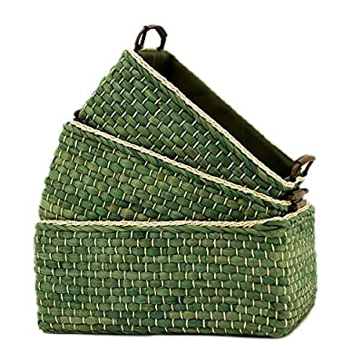 Baskets Woven Maize Storage Bins Set of 3,Kingwillow. (Green,Rectangular) - High quality, handmade maize storage boxes , art & craft. When not in use, the baskets can stack inside of each other, for easy to storage. Great for cosmetics, books ,toys, coins ,album, fruit, underwear, baby clothes and other small sundries.Utility and suitable for home and office. - living-room-decor, living-room, baskets-storage - 61gHySBug7L. SS400  -