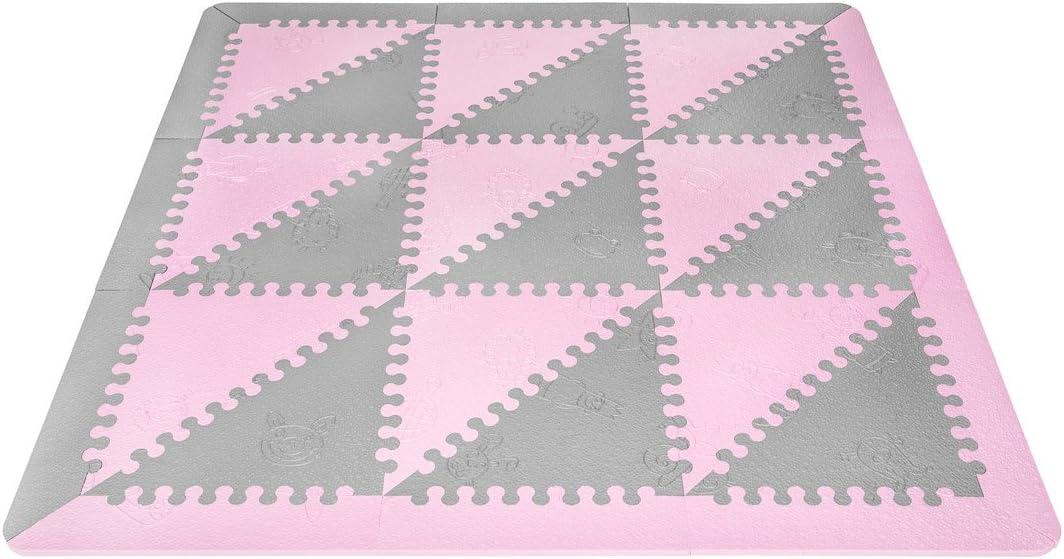 LuBabymats - Alfombra puzzle infantil para bebés de Foam (EVA), suelo extra acolchado para niños, color rosa y gris
