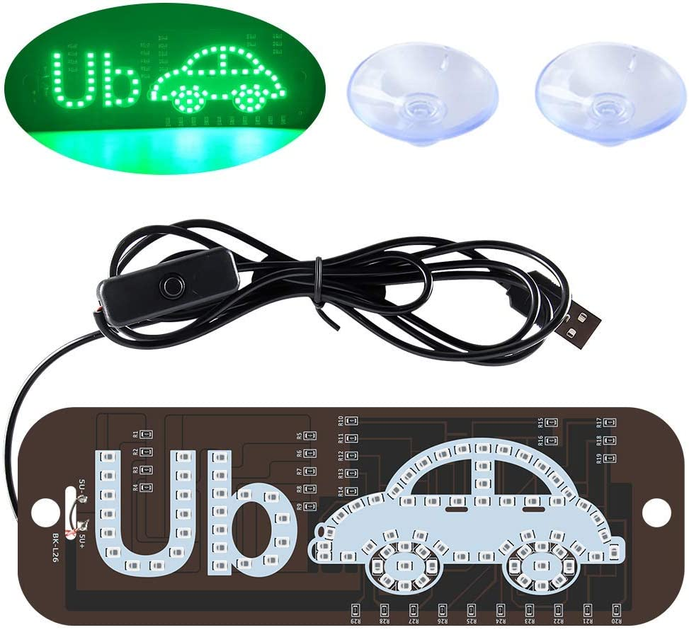 Ride Share LED Sign Decor, Car Lighted Window Decor Lighter Flashing Hook with Suction Cup & DC12V Car USB Charger Inverter, Make Your Car Visible (Green)