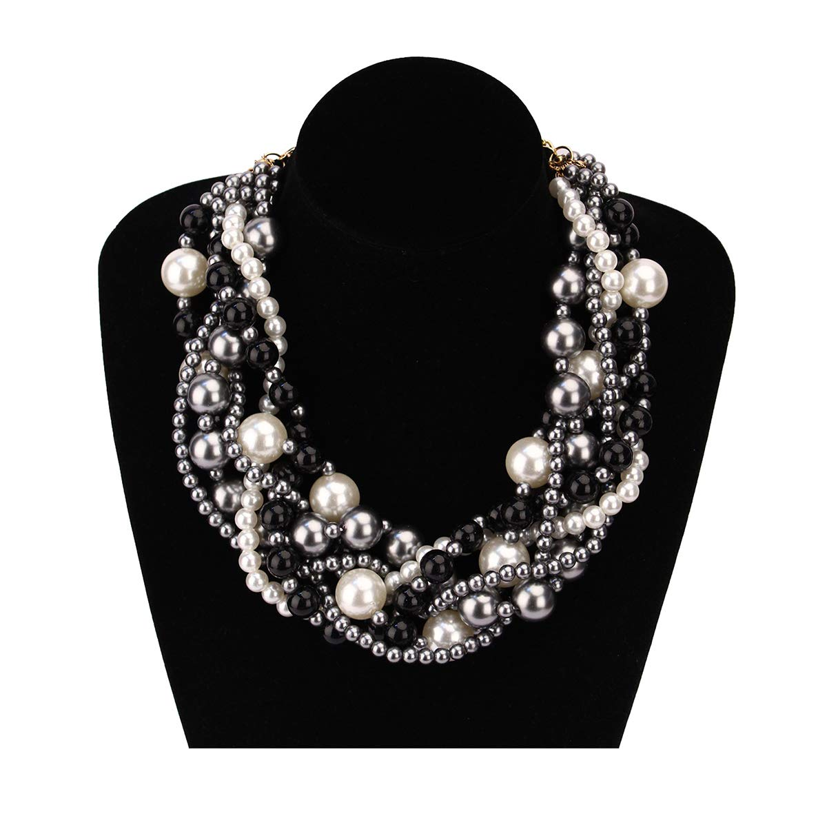 MeliMe Women's Imitation Pearl Twisty Chunky Bib Necklace Pearl Chokers for Wedding Party