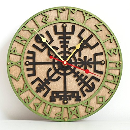 Vegvisir viking compass unique Icelandic Viking rune for luck and blessings ,decor wooden wall clock emerald green. Personalized, housewarming, one-of-a-kind, gift