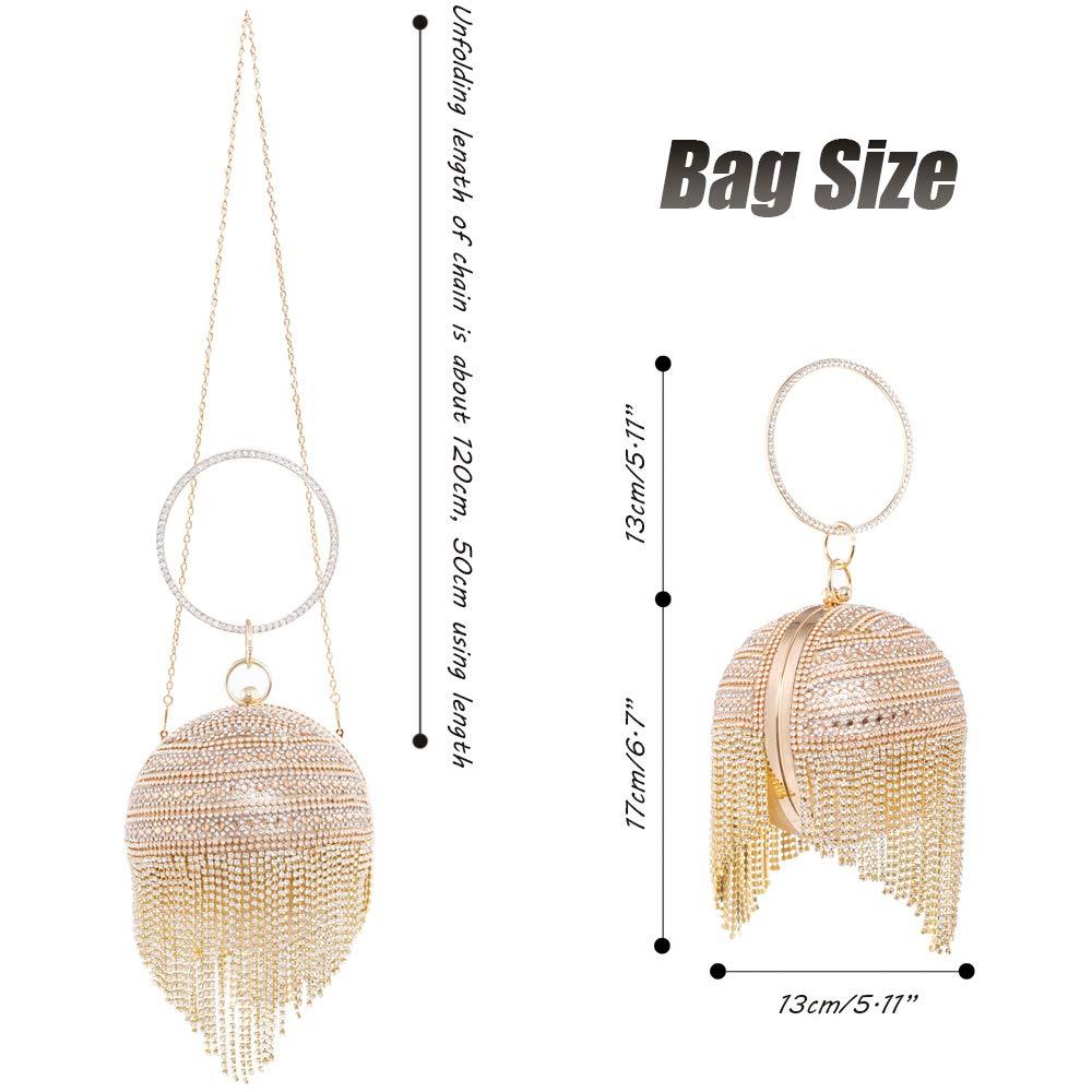 8e61403504c Womans Round Ball Clutch Handbag Dazzling Full Rhinestone Tassles Ring  Handle Purse Evening Bag (A): Handbags: Amazon.com
