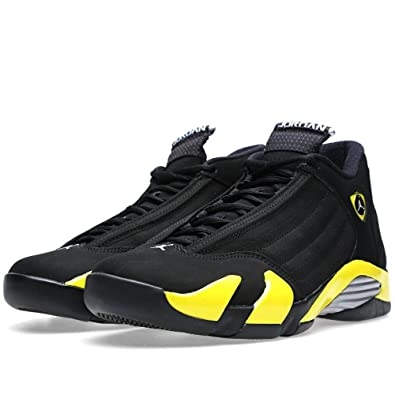 Jordan Mens Air Jordan 14 Retro BlackVibrant Yellow-White 487471-070 (