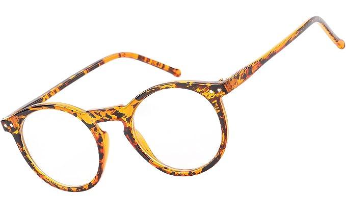058b9fba60 Beison Horn Rimmed Round Eyeglasses Frame Plain Glasses Clear Lens (Ink  yellow