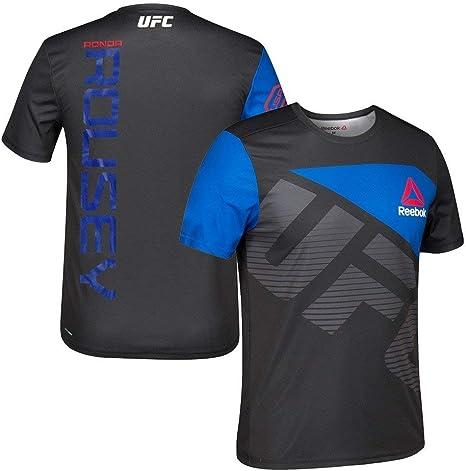 Adidas Ronda Rousey UFC Reebok Maglia da combattimentoallenamento con licensa ufficiale Reebok, da uomo, colore nero