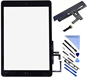 Touch Screen Digitizer for 2017 iPad 9.7 - Front Glass Replacement with Home Button (not Include LCD)& Tool Repair Kit (A1822, A1823) + PreInstalled Adhesive (Black)