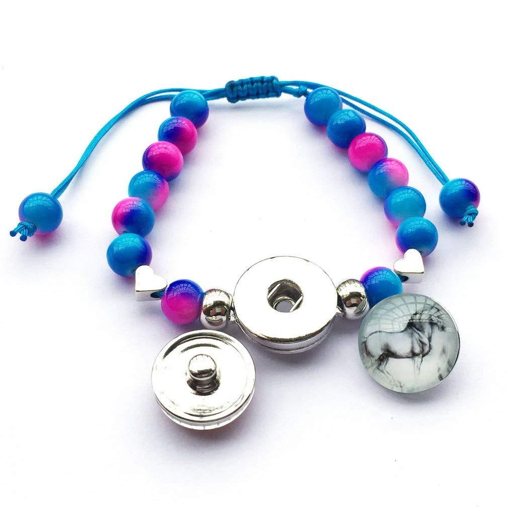 DOLON 8mm Two Tone Glass Pearl Beads Horse Bracelet Interchangeable Snap Charm