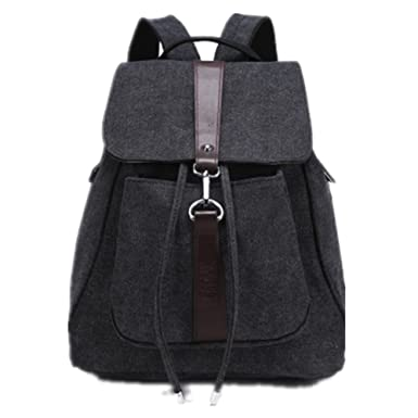 c4c37f3ef114 Women Men Girls Vintage Canvas Rucksack Backpack School Bag (Black)