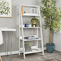 WE Furniture 55 Wood Ladder Bookshelf - White