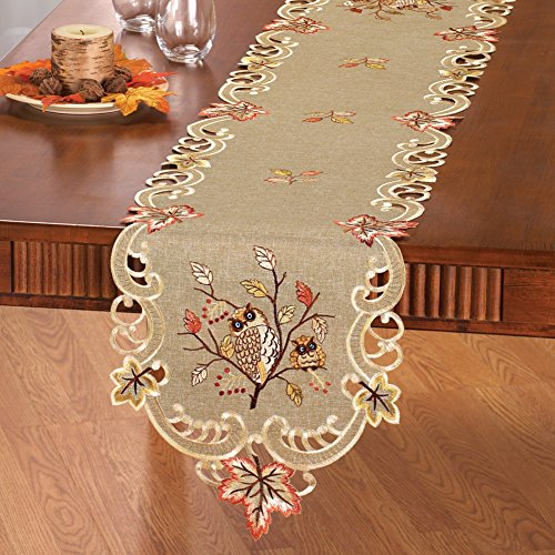 Embroidered Owls Table Linens Runner