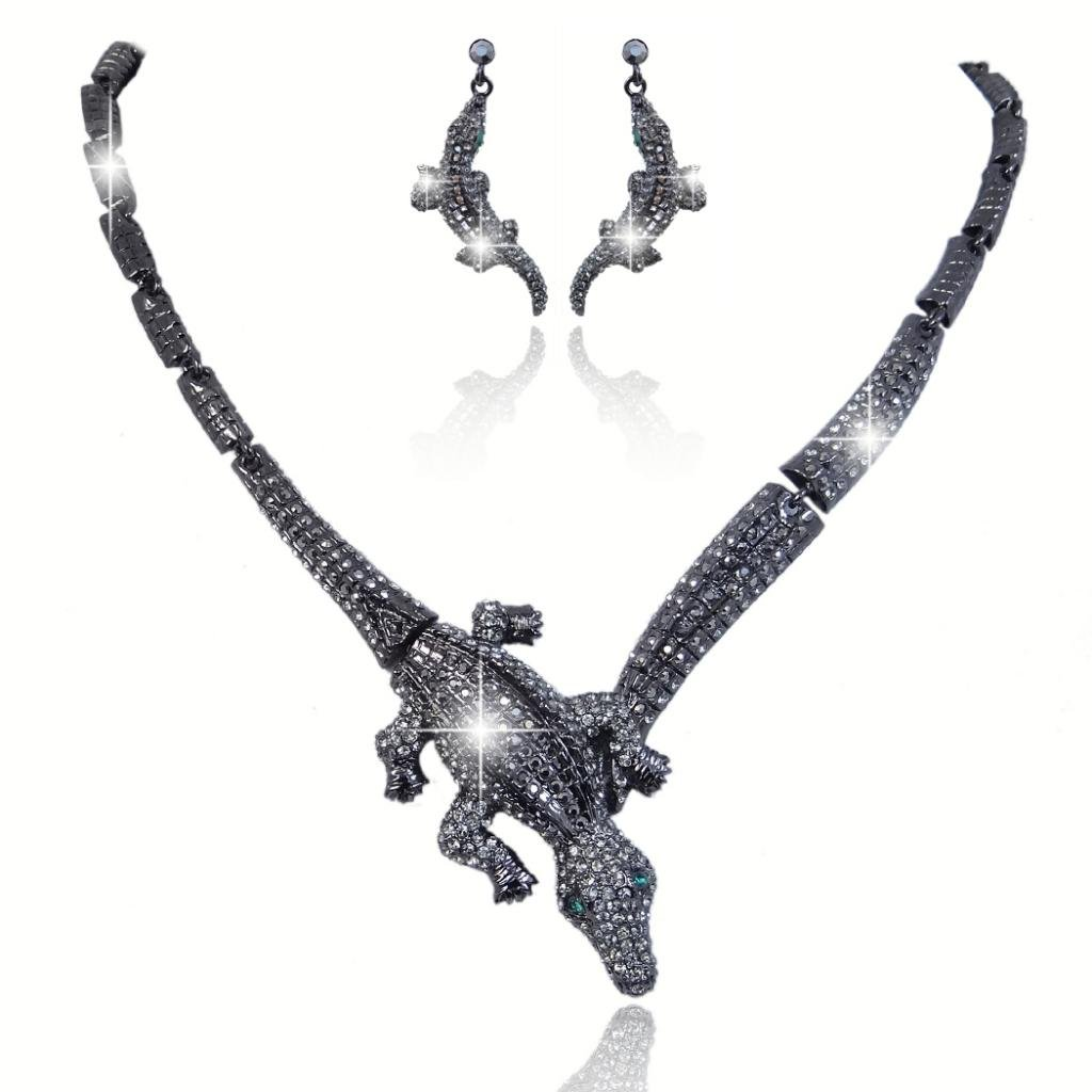 Ever Faith Vintage Style Crocodile Necklace Earrings Set Black Austrian Crystal N02550-2