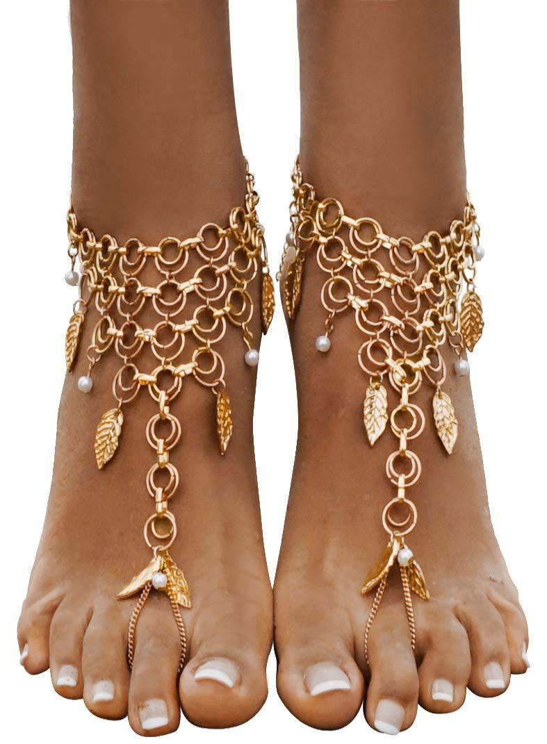 Bienvenu Women's Multi Chain Tassels Anklet Leaves Chain Beach Wedding Foot Jewelry,Copper