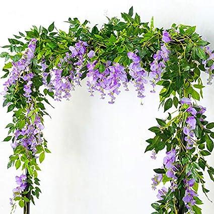 Lanyifang 4pcs Fiori Artificiali Ghirlanda di Glicine Vite di Fiori Artificiali Fiore Appeso Fiore in Rattan per Casa Giardino Cerimonia Nozze Decorazioni Floreali Bianco
