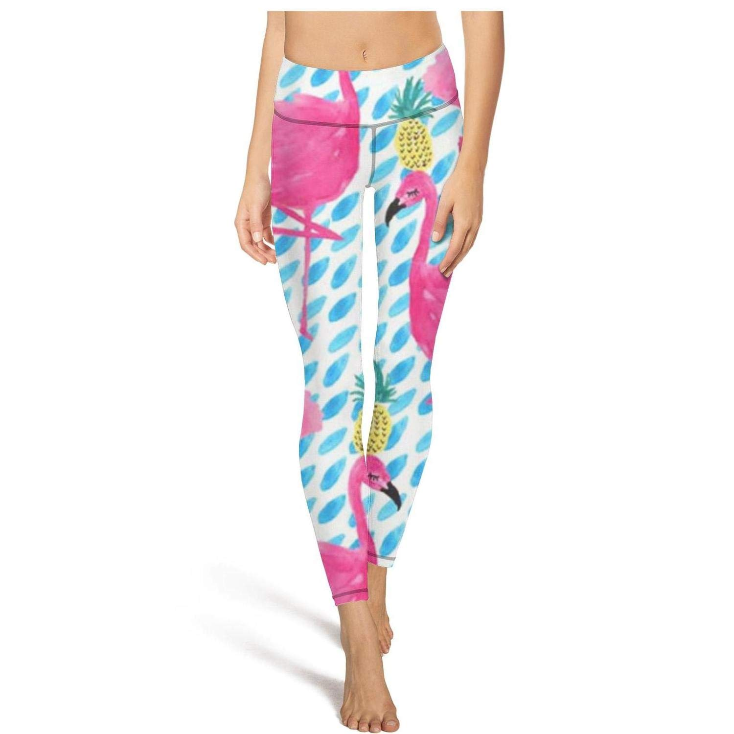 Womens Workout Running Legging Party Flamingos Pineapple Funny Tummy Control Yoga Pants Stretch