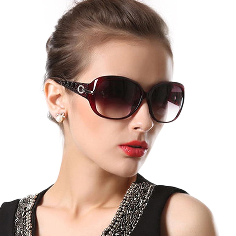 Duco Klassische Mode Damen Sonnenbrille mit übergroßen polarisierte Linse 100% UV-Schutz 6214