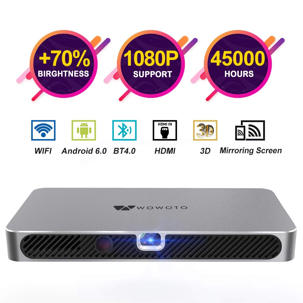 WOWOTO A8 Pro Mini Projector Portable 3800Lux Android 6.0 WiFi Wireless & Bluetooth 3D Video Projector LED with Speakers 45000 Hrs Support 1080P HDMI/TF/USB for Home Theater Office Gift by WOWOTO