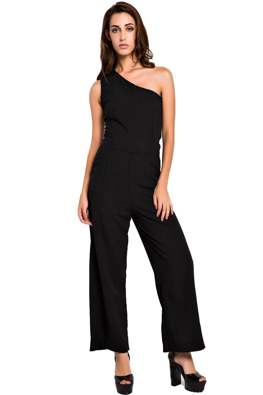ACHICGIRL Women's Black One-Shoulder Wide Leg Jumpsuit
