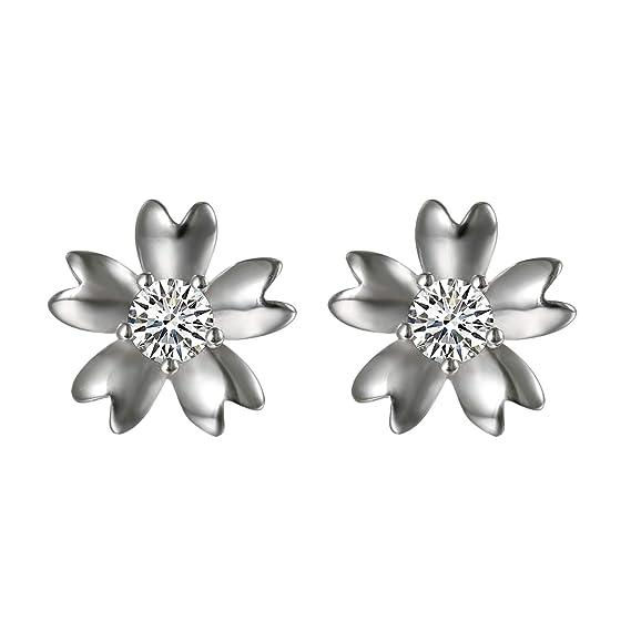 c1b1504d3a92 Aroncent Pendientes Hueso Oído de 925 Plata de Ley Aretes Forma de Flor con  Circonita Brillante