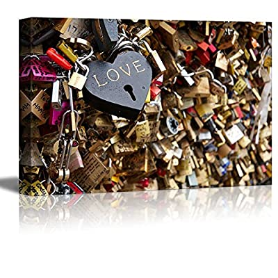 Canvas Prints Wall Art - Love Locks on The Bridge of Arts (The Bridge of Kisses) in Paris | Modern Wall Decor/Home Decoration Stretched Gallery Canvas Wrap Giclee Print & Ready to Hang - 16
