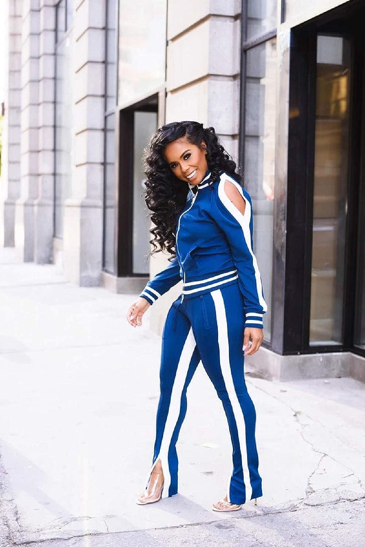 Wide Leg Slit Pants Tracksuit Set Jogging Suits for Women Sweat Suits Set Zipper Hoodies Sweatshirt