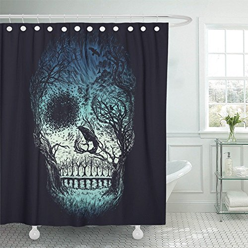 Emvency Shower Curtain with Hook Polyester Fabric Branches Abstract Skull Made from Trees and Foliage in Color Dead Drawing Drawn Face Waterproof Adjustable Hook Sets 72 x 72 for -