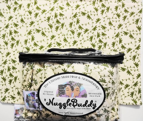'NUGGLEBUDDY Microwaveable Moist Heat & Aromatherapy Organic Rice Pack. Eucalyptus Leaf Fabric with SPEARMINT EUCALYPTUS Aromatherapy