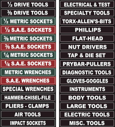 Adjustable Magnetic Tool Chest Labels for Tool Box, Tool Cabinets
