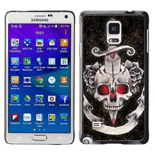 Colorful Printed Hard Protective Back Case Cover Shell Skin for Samsung Galaxy Note 4 IV / SM-N910F / SM-N910K / SM-N910C / SM-N910W8 / SM-N910U / SM-N910G ( Dagger Black Red Rose Devil Skull )
