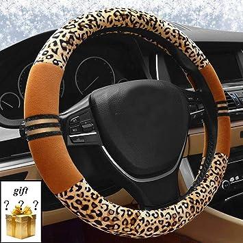 Super Soft Luxury Leopard Print Fashionable Plush Car Steering Wheel Cover 38CM
