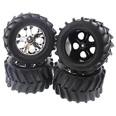 "Traxxas Stampede 4x4 XL-5 4 4 MAXX 2.8"" Tires & All Star Chrome Wheels 12mm: Toys & Games"