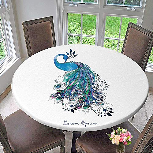 Mikihome Luxury Round Table Cloth for Home use Greeting Watercolor Card with Peacock Frame of Peacock Made in Vector Perfect Cards for Buffet Table, Holiday Dinner 35.5