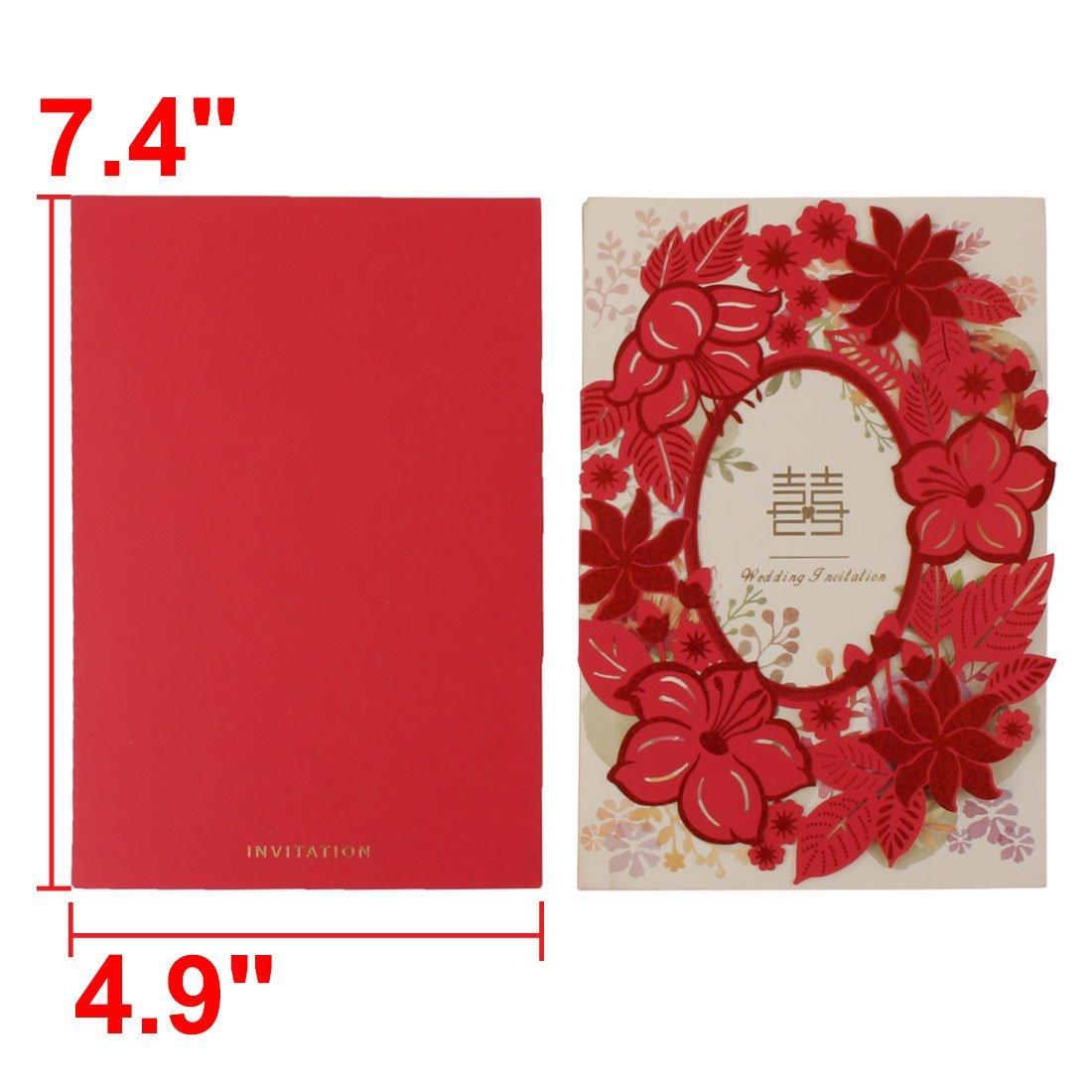 Amazon.com: eDealMax Estampado de Flores de Papel la boda del Partido nupcial de la ducha tarjetas de invitación de la Cena DE 10 sistemas: Home & Kitchen