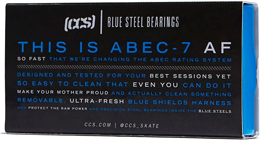 Pack of 8 CCS Premium Skateboard//Longboard Blue Steel Bearings ABEC 7
