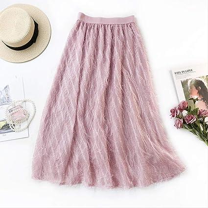QYYDBSQ Primavera Mujeres Elegantes Faldas Largas Cintura Alta ...