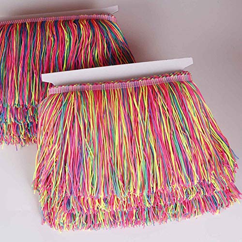Heartwish268 Fringe Trim Lace Nylon Fabric Tassel 6inch Wide 10 Yards Long for Clothes Accessories Latin Wedding Dress DIY Lamp Shade Decoration Rainbow Neon Mixed Color