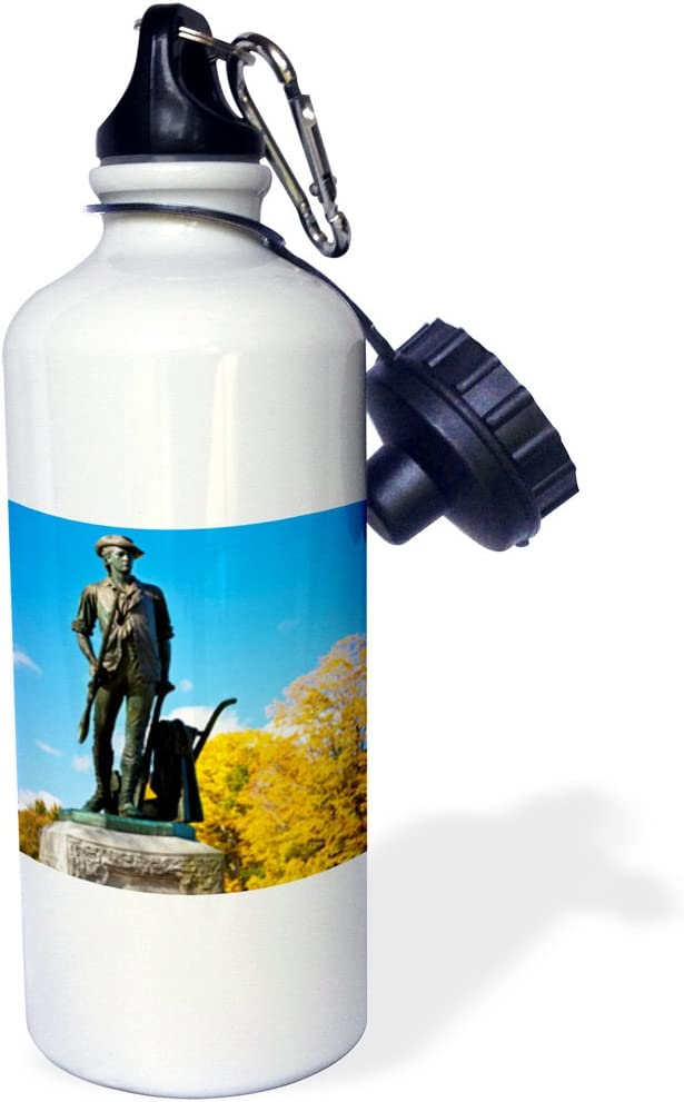White 21 oz 3dRose wb/_144604/_1Minuteman statue Massachusetts USA-US22 BJN0032-Brian Jannsen Sports Water Bottle Concord