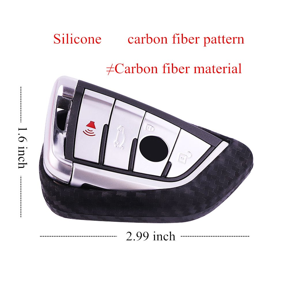 Carbon fiber pattern silicone For BMW smart key case cover keychain 1 3 5 6 7 Series X1 X3 X4 X5 X6 E87 F20 E90 E92 E93 F30 F35 F34 F31 3GT 5GT KEYCHAINS KEY PROTECTIVE CASE COVER