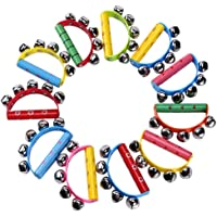 Nrpfell 10Pcs Vivid Color Jingle Bells Sleigh Bells Instrument On Wooden Handle for Baby Kids Children Musical Toys