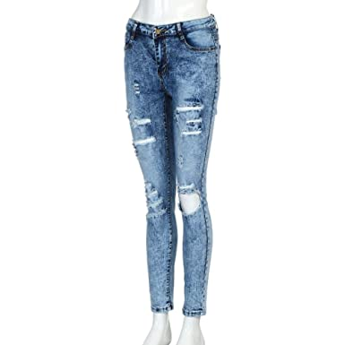 Amazon.com: Dingji Fashion Ripped Holes Jeans Womens Mid ...