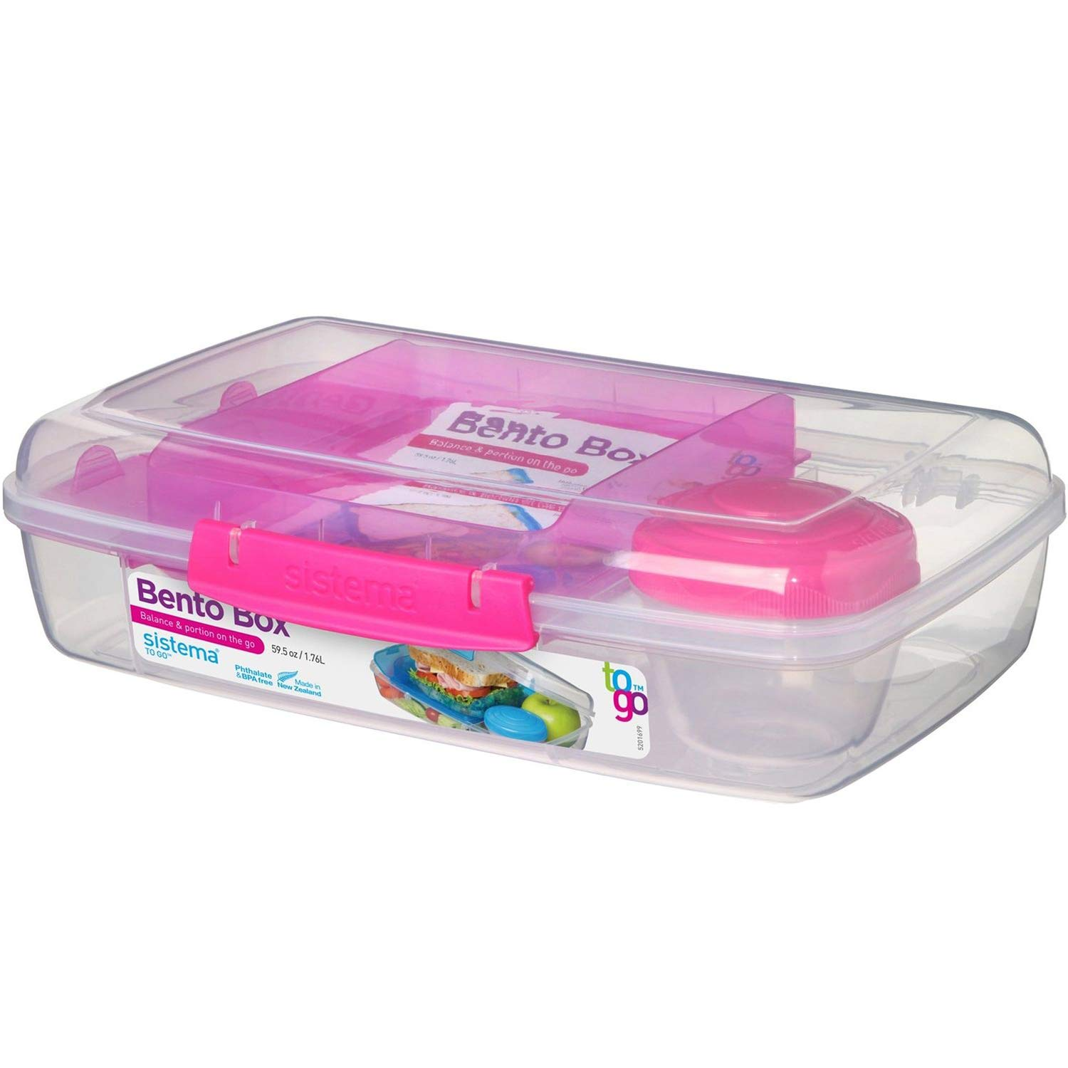 Sistema 216713 to Go Collection Bento Lunch Box, Large, Clear/Pink
