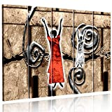 Feeby. Multipart Canvas - 5 panels - Wall Art Picture, Image Printed on Canvas, 5 parts, Type C, 200x100 cm, ABSTRACTION, WOMEN, SHAMANS, PATTERNS, AFRICA, BROWN, RED, WHITE